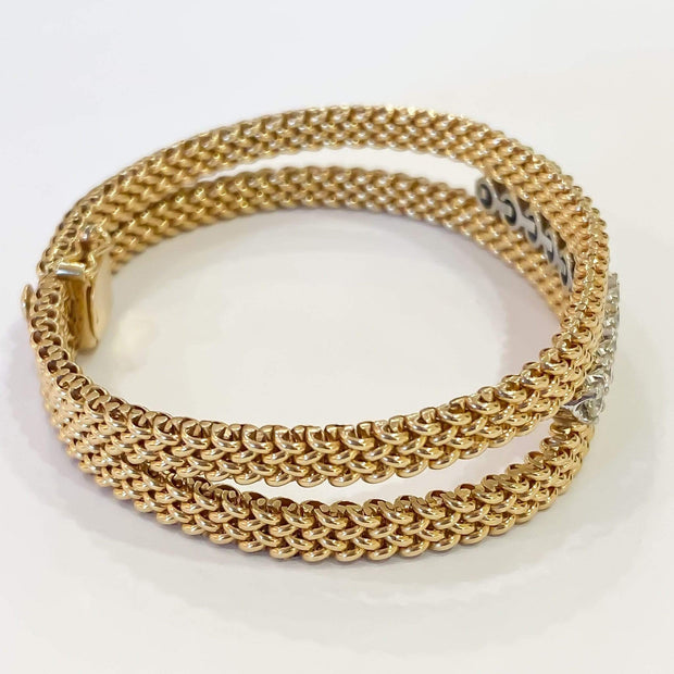 Mark Areias Jewelers Jewellery & Watches Mesh Woven Round Diamond Bracelet 14K Yellow Gold 1.00CTW 7""