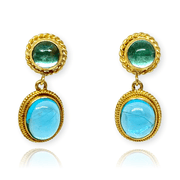 Mark Areias Jewelers Jewellery & Watches Natural Apatite Oval & Round Woven Bezel Set Drop Dangle Earrings 18KY