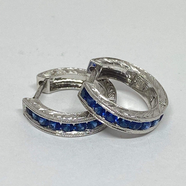 Mark Areias Jewelers Jewellery & Watches Natural Blue Sapphire Carved Huggie Reversible 18K White Gold Hoop Earrings