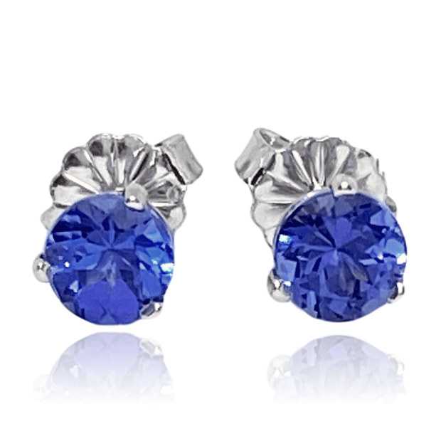 Mark Areias Jewelers Jewellery & Watches Natural Blueish Violet Tanzanite Round Faceted Studs Posts 18KW 1.17ctw
