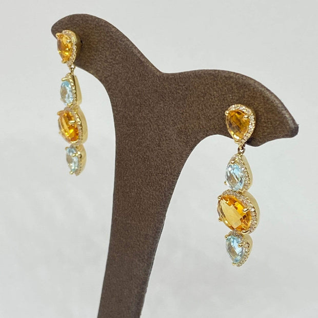 Mark Areias Jewelers Jewellery & Watches Natural Citrine, Blue Topaz, Diamond Dangle Drop Post Earrings 6.85CTW 14K