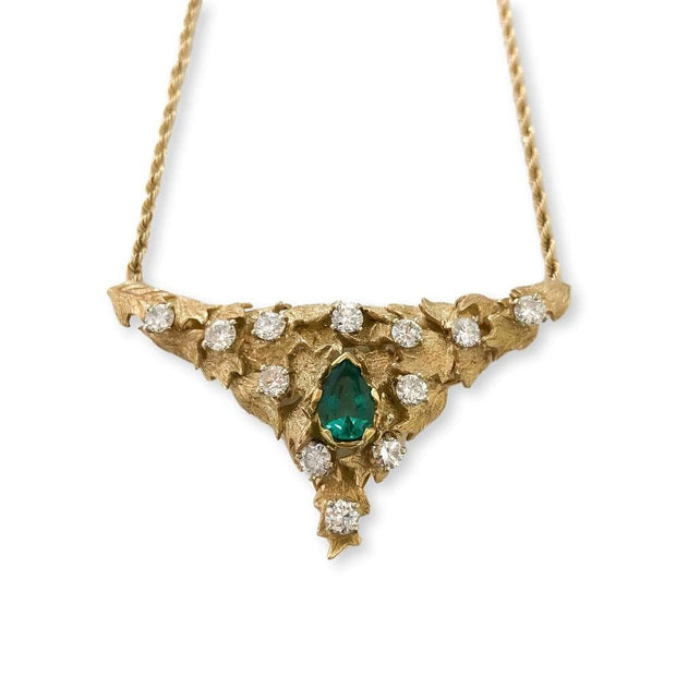 Mark Areias Jewelers Jewellery & Watches Natural Emerald and Diamond Florentine Triangular Necklace 1.10CT 14K