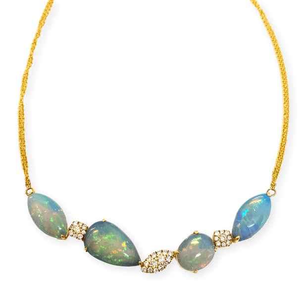 Mark Areias Jewelers Jewellery & Watches Natural Ethiopian Opal & Diamond Necklace 14K Yellow Gold 10.66 Carats