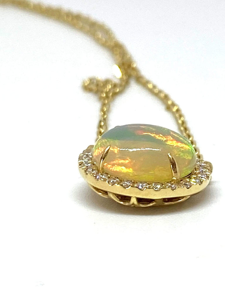 Mark Areias Jewelers Jewellery & Watches Natural Ethiopian Oval Opal & Diamond Pendant 14K Yellow Gold 2.35 Carat