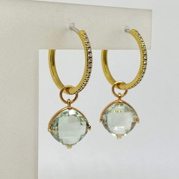 Mark Areias Jewelers Jewellery & Watches Natural Green Amethyst Cushion Drop Dangle Earrings on Diamond Hoops 18K .16CTW