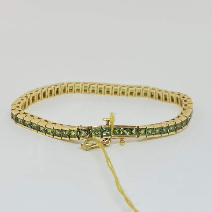 Mark Areias Jewelers Jewellery & Watches Natural Green Sapphire Princess Square Channel Tennis Bracelet 14KY 10.44CTW