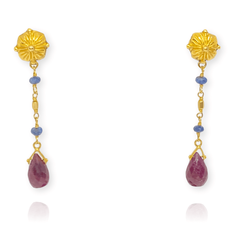 Mark Areias Jewelers Jewellery & Watches Natural Multi Colored Gemstone Drop Earrings Ruby Sapphire Briolette 22KY