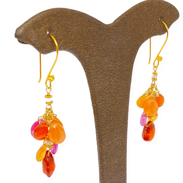Mark Areias Jewelers Jewellery & Watches Natural Multi Colored Gemstone Earrings Summer Briolette Garnet Opal Sap. 18KY