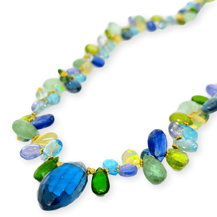 Mark Areias Jewelers Jewellery & Watches Natural Multi Colored Gemstone Necklace Blue Briolette Topaz Tanzanite Opal 18KY