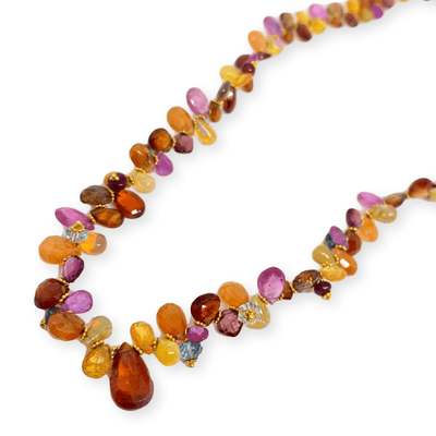 Mark Areias Jewelers Jewellery & Watches Natural Multi Colored Gemstone Necklace Summer Briolette Garnet Opal Sap. 18KY