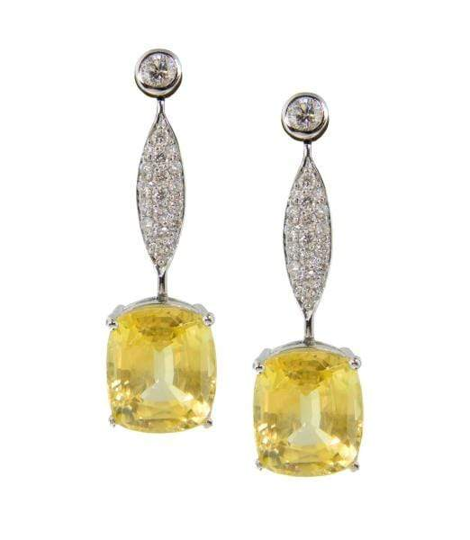 Mark Areias Jewelers Jewellery & Watches Natural NO HEAT Yellow Sapphire Oval Dangle Drop Diamond Earrings 18KW 16.60CTW