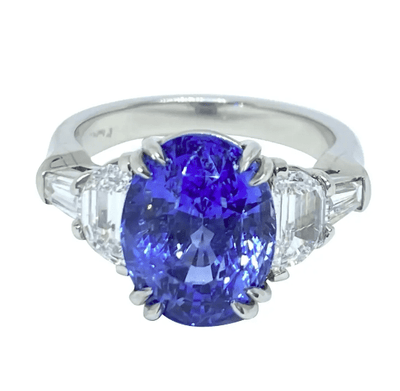 Mark Areias Jewelers Jewellery & Watches Natural Oval Blue Sapphire & Diamond Ring in Handmade Platinum Mounting 7.11 CT