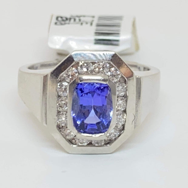 Mark Areias Jewelers Jewellery & Watches Natural Oval Tanzanite & Diamond Halo Octagon Ring Platinum 1.01 Carat