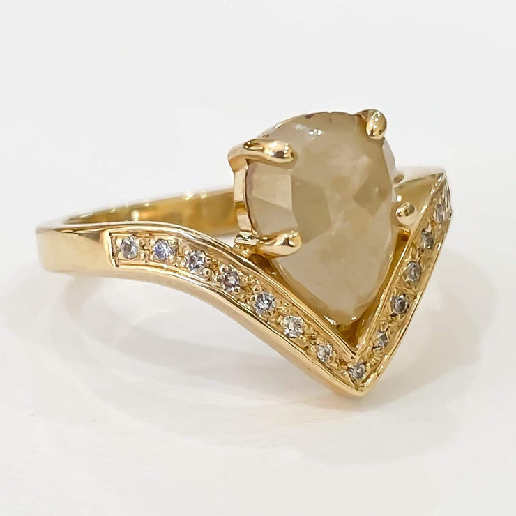 Mark Areias Jewelers Jewellery & Watches Natural Pear Shape Rose Cut Cream Diamond Hand Fabricated Ring Yellow Gold 1.97