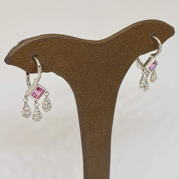Mark Areias Jewelers Jewellery & Watches Natural Pink Sapphire Diamond Chandelier Dangle Earrings 18K White Gold .77ctw