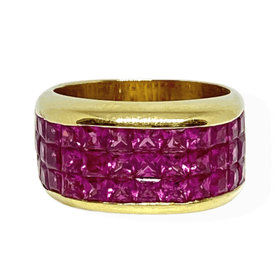 Mark Areias Jewelers Jewellery & Watches Natural Pink Sapphire Invisible Set Wide Ring 18KY 4.99CTW