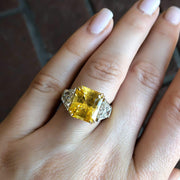 Mark Areias Jewelers Jewellery & Watches Natural Radiant Yellow Sapphire & Trapezoid Diamond Platinum 18KY Ring 8.16CT