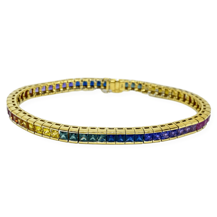 Mark Areias Jewelers Jewellery & Watches Natural Rainbow Sapphire Princess Cut Channel Tennis Bracelet 12.50 CTW 14KY
