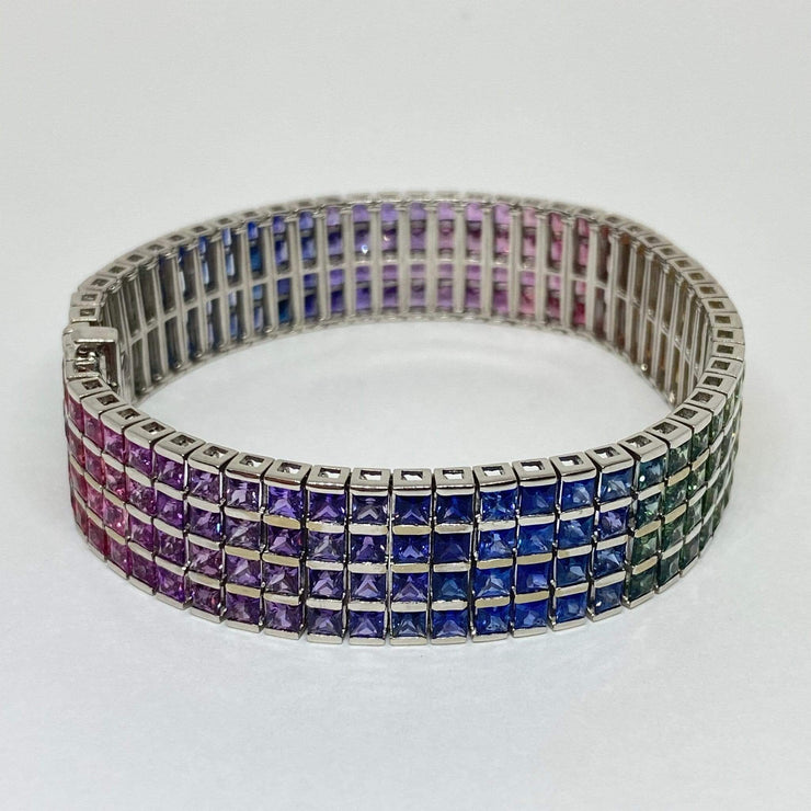 Mark Areias Jewelers Jewellery & Watches Natural Rainbow Sapphire Princess Cut Wide Tennis Bracelet 35 CTW 18K