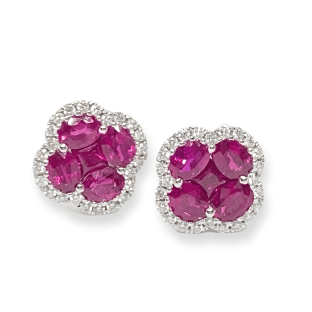 Mark Areias Jewelers Jewellery & Watches Natural Ruby Oval Cluster Flower Clover Post Earrings 18K White Gold 1.81ctw