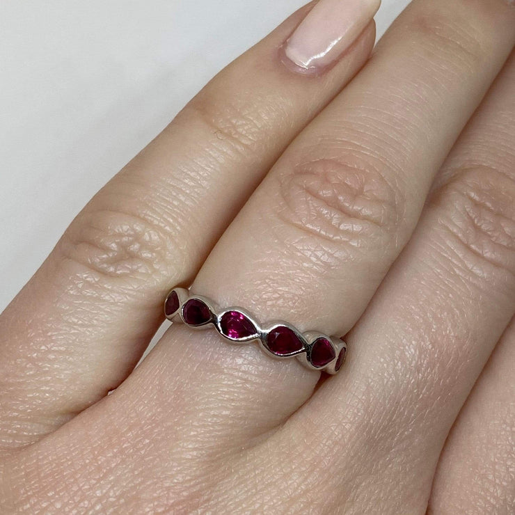 Mark Areias Jewelers Jewellery & Watches Natural Ruby Pear Shape Bezel Eternity Ring Band 18K White Gold 2.52CTW