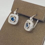 Mark Areias Jewelers Jewellery & Watches Natural Sapphire Diamond Halo Lever Back Dangle Earrings 18K White Gold
