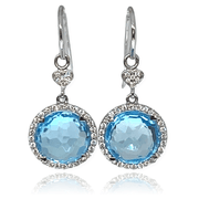 Mark Areias Jewelers Jewellery & Watches Natural Swiss Blue Topaz Drop Dangle Diamond Earrings 18K 11mm