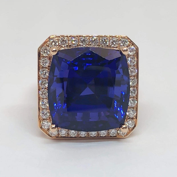 Mark Areias Jewelers Jewellery & Watches Natural Tanzanite Cushion Cut in 18K Rose Gold Diamond Custom Ring Mounting