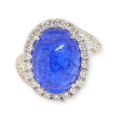 Mark Areias Jewelers Jewellery & Watches Natural Tanzanite Oval Cabochon & Diamond Halo Bypass Ring 14KW 9.26 Carat