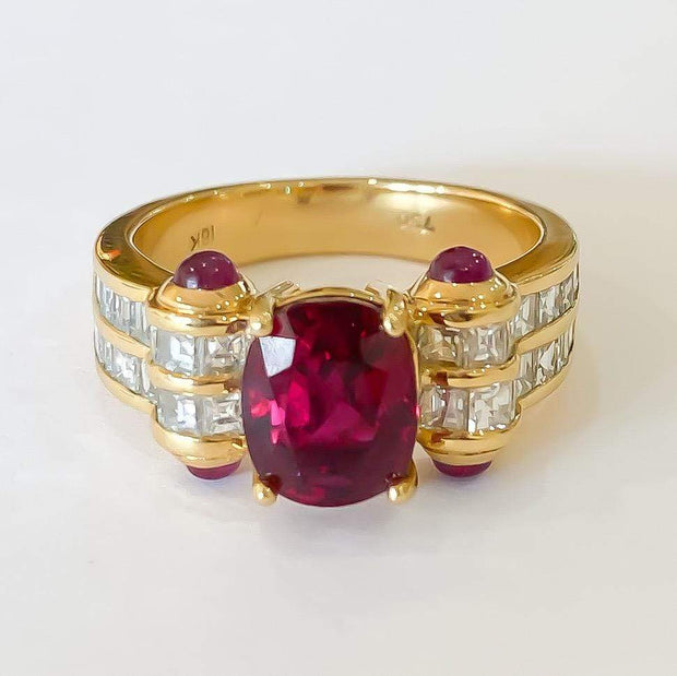 Mark Areias Jewelers Jewellery & Watches Natural Thai Ruby Oval & Cabochon Square Diamond Handmade Ring 18K 2.64 Carat