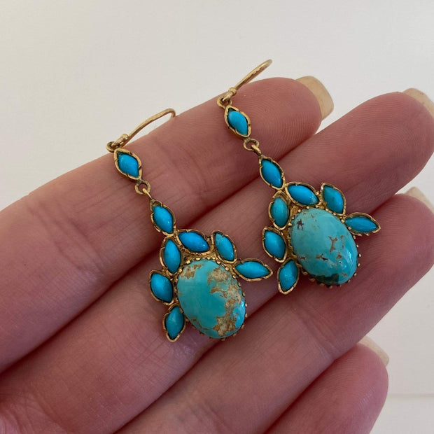 Mark Areias Jewelers Jewellery & Watches Natural Turquoise Estate Necklace and Earring Suite Set 18K Yellow Gold