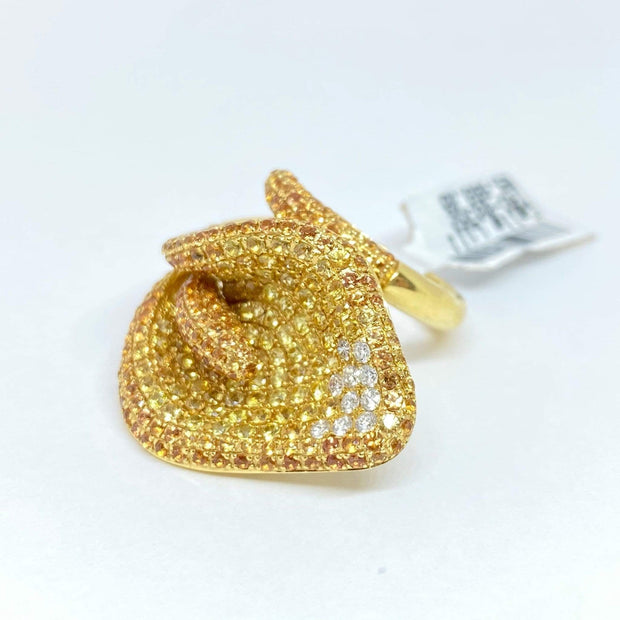 Mark Areias Jewelers Jewellery & Watches Natural Yellow Sapphire & Diamond Pave Calla Lily Flower Ring 18KY 4.17 CTW