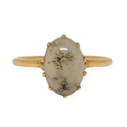 Mark Areias Jewelers Jewellery & Watches Oval Cabochon Moss Agate Solitaire Ring 14K Yellow Gold