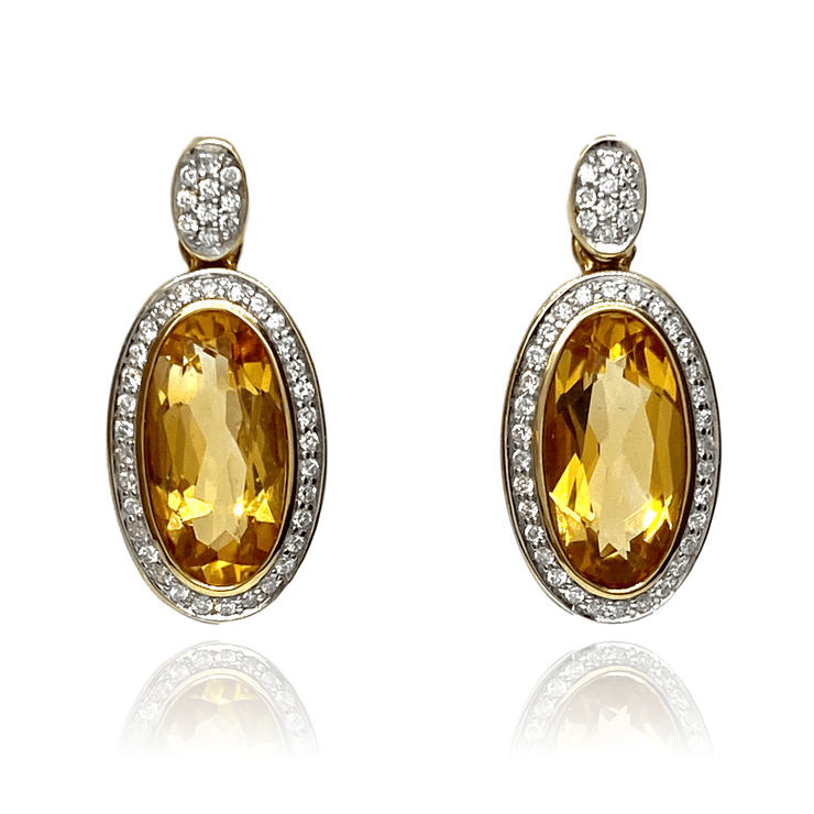 Mark Areias Jewelers Jewellery & Watches Oval Citrine and Diamond Post Dangle Earrings 14KY 10CTW .46DTW