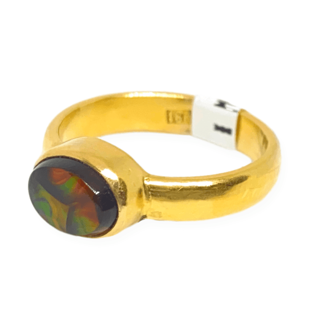 Mark Areias Jewelers Jewellery & Watches Oval Fire Agate Cabochon Solitaire Ring 18K Yellow Gold