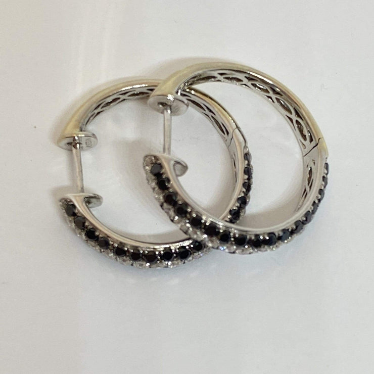 Mark Areias Jewelers Jewellery & Watches Pave Black & White Diamond 14K White Gold Hoop Earrings 2.29ctw