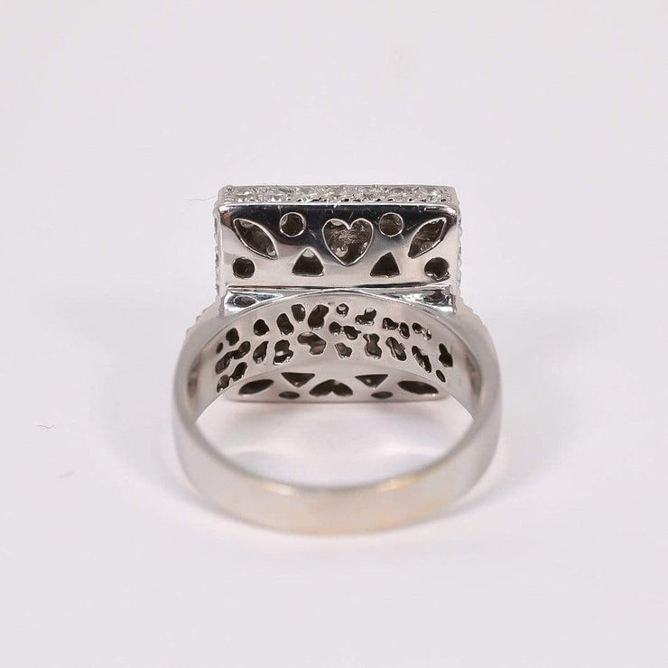 Mark Areias Jewelers Jewellery & Watches Pave Diamond Concave Saddle Ring 1.80ctw 18K White Gold