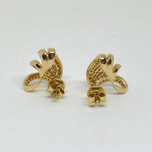 Mark Areias Jewelers Jewellery & Watches Pave Diamond Crawler Ribbon Fan Earring Cuffs .45ctw 14K Yellow Gold