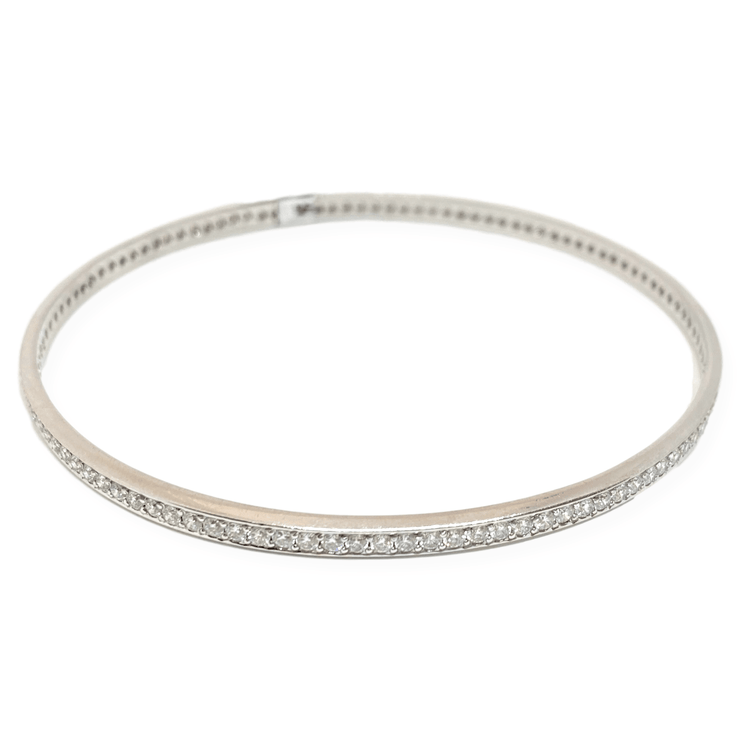 "Mark Areias Jewelers Jewellery & Watches Pave Diamond Eternity Round Bangle Bracelet 18KW 2.38CTW 2.75"" Diameter"