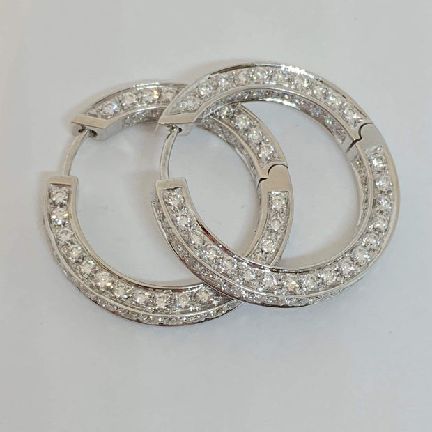 Mark Areias Jewelers Jewellery & Watches Pave Diamond Inside Outside 18K White Gold Hoop Earrings 3.08ctw
