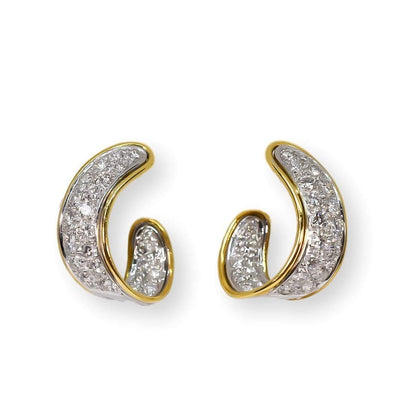 Mark Areias Jewelers Jewellery & Watches Pave Diamond Ribbon Hoop Earrings 2.01ctw 18K White & Yellow Gold