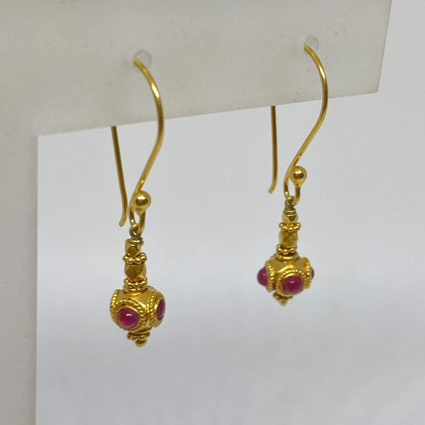 Mark Areias Jewelers Jewellery & Watches Petite Ruby Cabochon Bali Style Dangle Earrings Shepards Hook 18KY