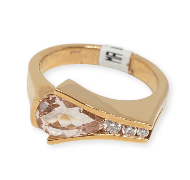 Mark Areias Jewelers Jewellery & Watches Pink Pear Morganite & Diamond Ring Channel Set 18K Rose Gold 1.25 Carat