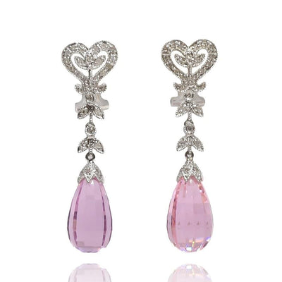 Mark Areias Jewelers Jewellery & Watches Pink Topaz & Diamond Briolette Dangle Chandelier Omega Earrings
