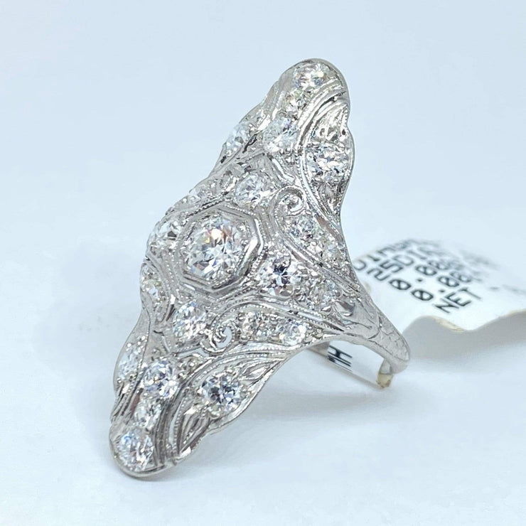 Mark Areias Jewelers Jewellery & Watches Platinum Art Deco Antique Old European Diamond Pave Ring 1.50ctw