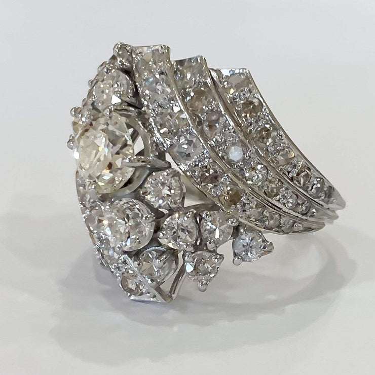 Mark Areias Jewelers Jewellery & Watches Platinum Art Deco Antique Old Mine Cushion Diamond Cluster Ring 2.87ctw