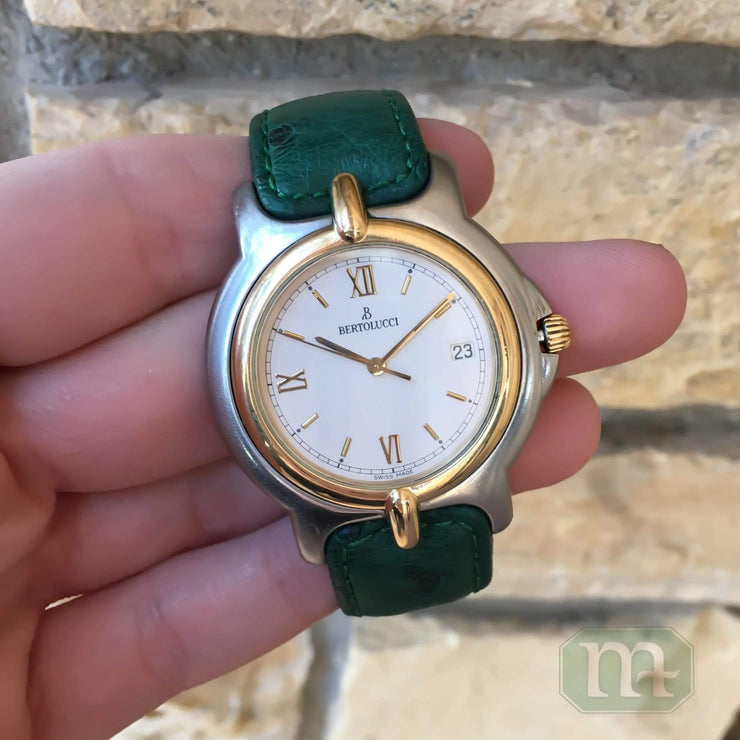 Mark Areias Jewelers Jewellery & Watches Pre-Owned Bertolucci Pulchra Watch Stainless Steel & 18K Yellow Gold 36mm Green Strap