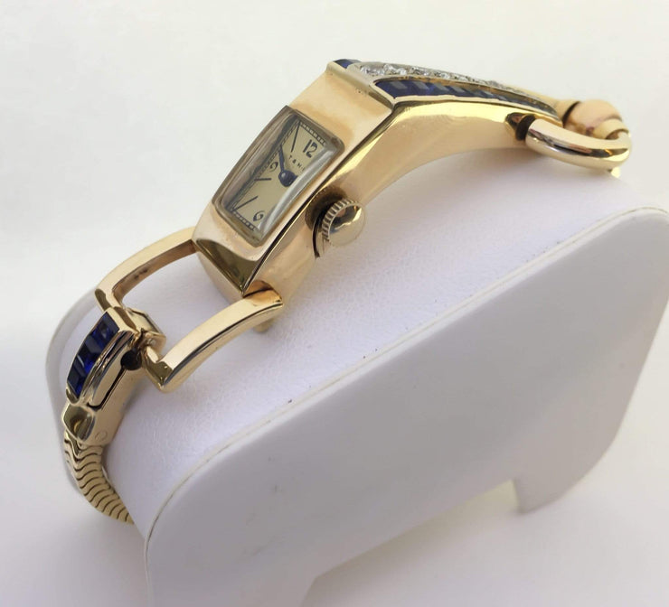 Mark Areias Jewelers Jewellery & Watches Pre-Owned Blancpain T&H-M Retro Driver Watch Sapphire & Diamond 14K Yellow Gold