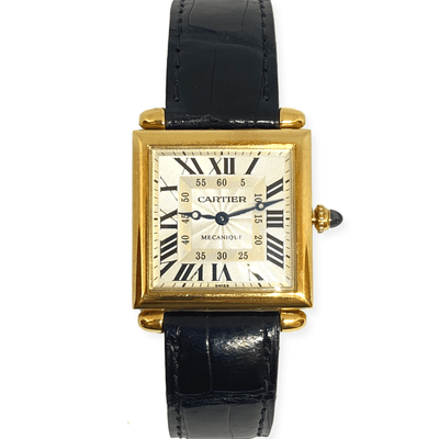 Mark Areias Jewelers Jewellery & Watches Pre-Owned Cartier Carree Obus Tank Guilloche Exhibition 18K Yellow Watch Strap