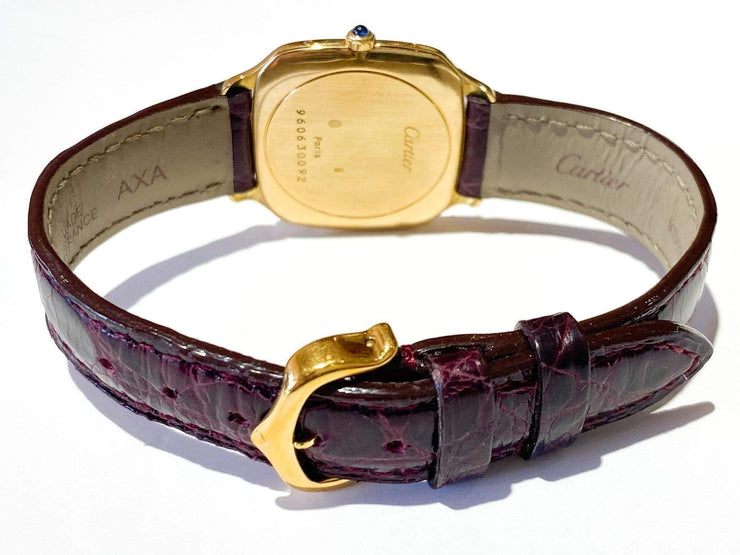 Mark Areias Jewelers Jewellery & Watches Pre-Owned Cartier Ceinture Mechanical 18K White & Yellow Gold 28MM on Burgundy NEW Strap